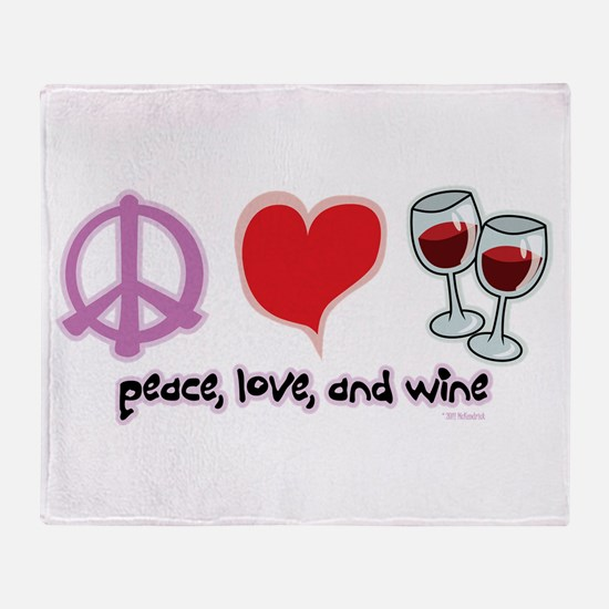 Peace, Love, and Wine Throw Blanket