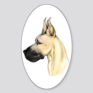 Great Dane Fawn HS (fem) Oval Sticker