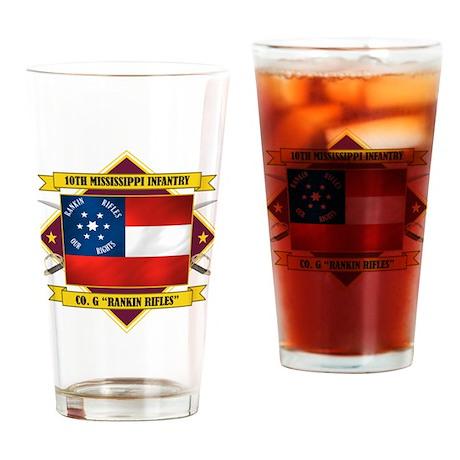 10th Mississippi -Rankin Rifl Drinking Glass