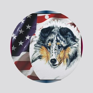 Merle Sheltie Flag Ornament (Round)