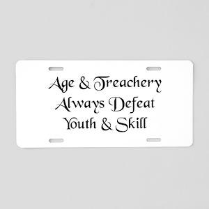 Age & Treachery Aluminum License Plate
