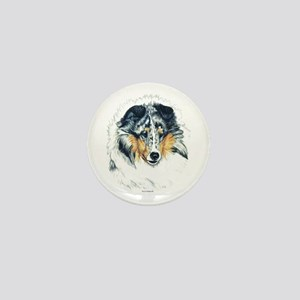 Blue Merle Shetland Sheepdog Mini Button