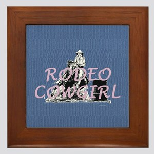 Rodeo Cowgirl Framed Tile