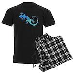 Malachite Blue Gecko Men's Dark Pajamas