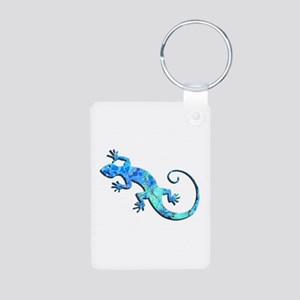 Malachite Blue Gecko Aluminum Photo Keychain