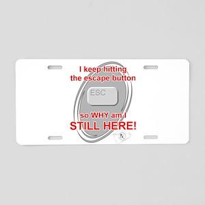 Escape Button Aluminum License Plate