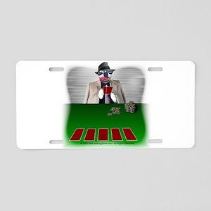Poker Playing Dog Aluminum License Plate