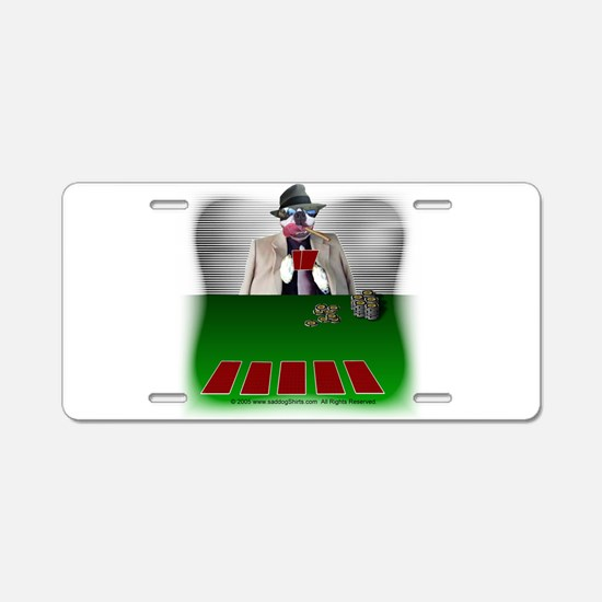 Poker Playing Dog Aluminum License Plate