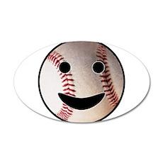 Baseball Happy Face 22x14 Oval Wall Peel