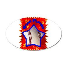 Baseball Star 2 22x14 Oval Wall Peel