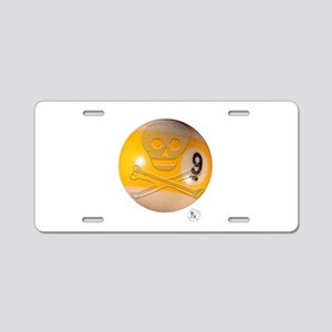 Skull & Crossbones 9-ball Aluminum License Plate