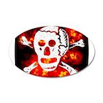 Poison Skull & Flames 38.5 x 24.5 Oval Wall Peel