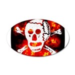 Poison Skull & Flames 22x14 Oval Wall Peel