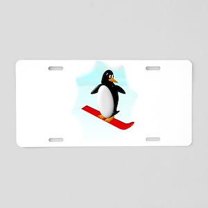 Snowboarding Penguin Aluminum License Plate
