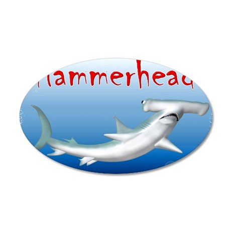 Hammerhead Shark 38.5 x 24.5 Oval Wall Peel