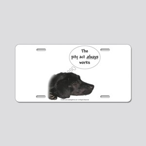 Pity Act- Black Lab Aluminum License Plate