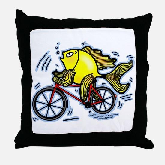 Bicycle Fish Throw Pillow