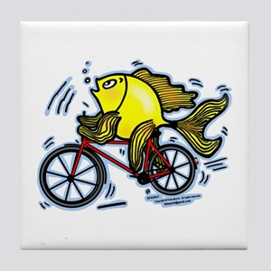 Bicycle Fish Funny Cartoon Tile Coaster