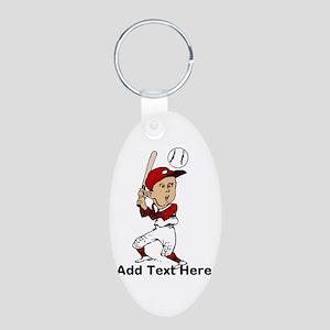 Personalized cute cartoon bas Aluminum Oval Keycha