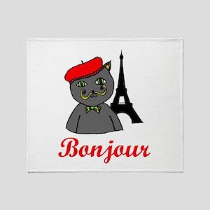 Bonjour Paris Throw Blanket
