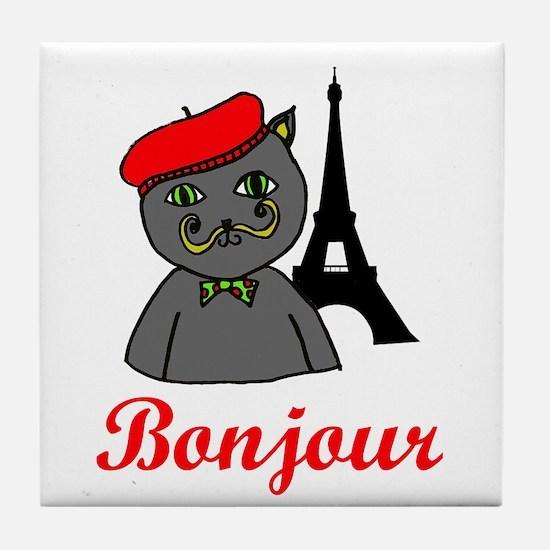 Bonjour Paris Tile Coaster