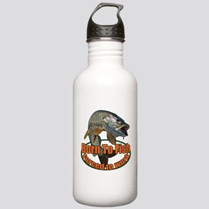 Born to fish forced to work Stainless Water Bottle