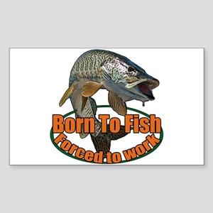Born to fish forced to work Sticker (Rectangle)