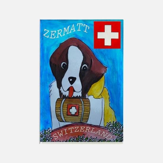 St Bernard Switzerland Rectangle Magnet