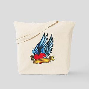 Winged Heart Tattoo Tote Bag