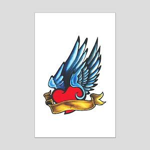 Winged Heart Tattoo Mini Poster Print