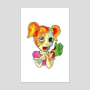 Zombie Girl Tattoo Mini Poster Print