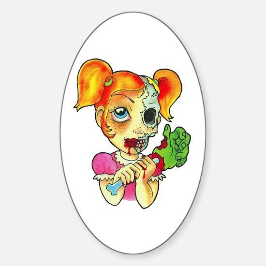 Zombie Girl Tattoo Sticker (Oval)