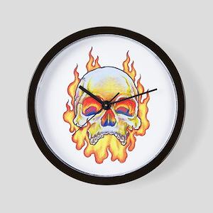 Flaming Skull Tattoo Wall Clock