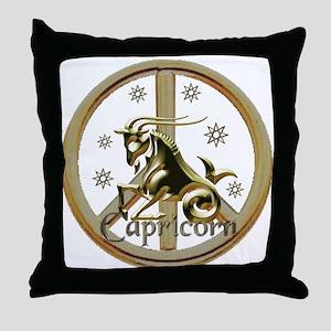 Capricorn Zodiac Peace Throw Pillow