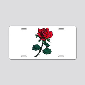 Red Rose Tattoo Aluminum License Plate