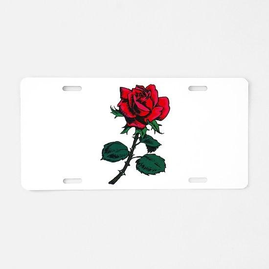 Red Rose Tattoo Aluminum License Plate