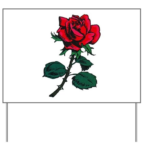 Red Rose Tattoo Yard Sign