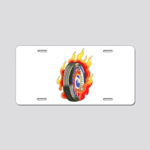 Fiery Wheel Tattoo Aluminum License Plate