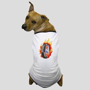 Fiery Wheel Tattoo Dog T-Shirt