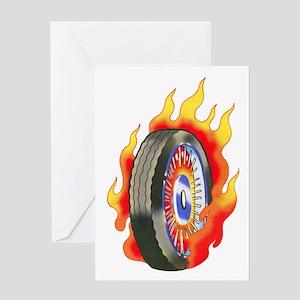 Fiery Wheel Tattoo Greeting Card