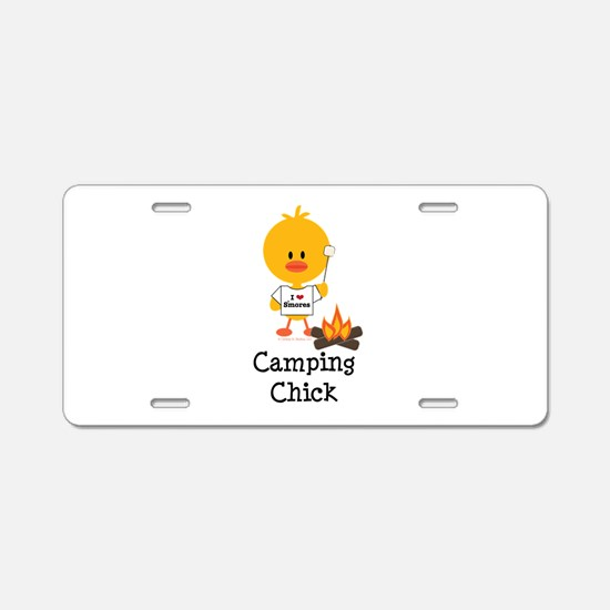 Camping Chick Aluminum License Plate