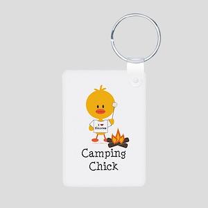 Camping Chick Aluminum Photo Keychain