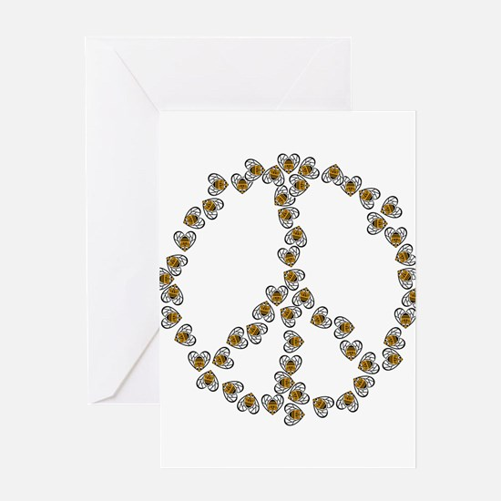 Peace Sign (made of bees) Greeting Card