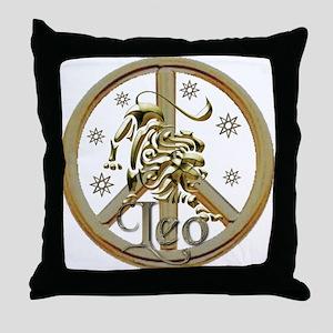 Leo Zodiac Peace Throw Pillow
