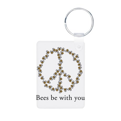 Bees be with you (peace symbo Aluminum Photo Keych
