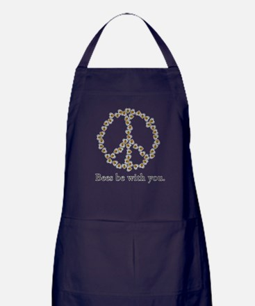 Bees be with you (peace symbo Apron (dark)