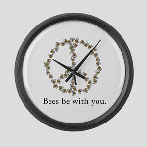 Bees be with you (peace symbo Large Wall Clock