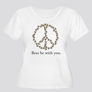 Bees be with you (peace symbo Women's Plus Size Sc