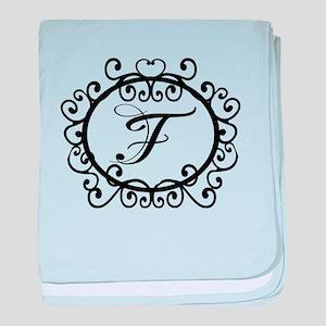 F Monogram Initial Letter baby blanket