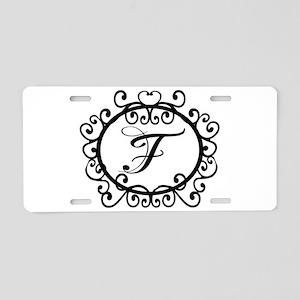 F Monogram Initial Letter Aluminum License Plate